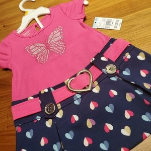 NWT Baby girl pink + navy butterfly dress